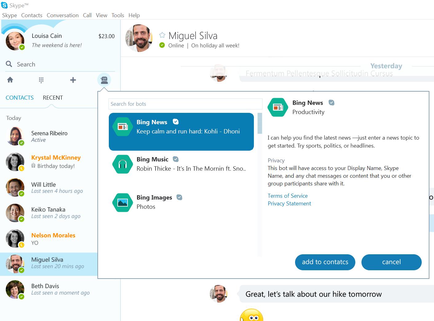 Microsoft запустила ботов в Skype - 1