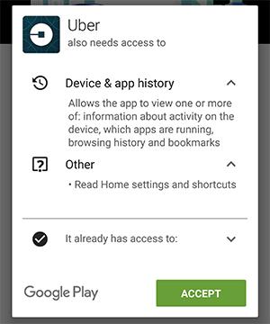 Приложение Uber запросило доступ к истории браузера, закладкам и запущенным приложениям - 1