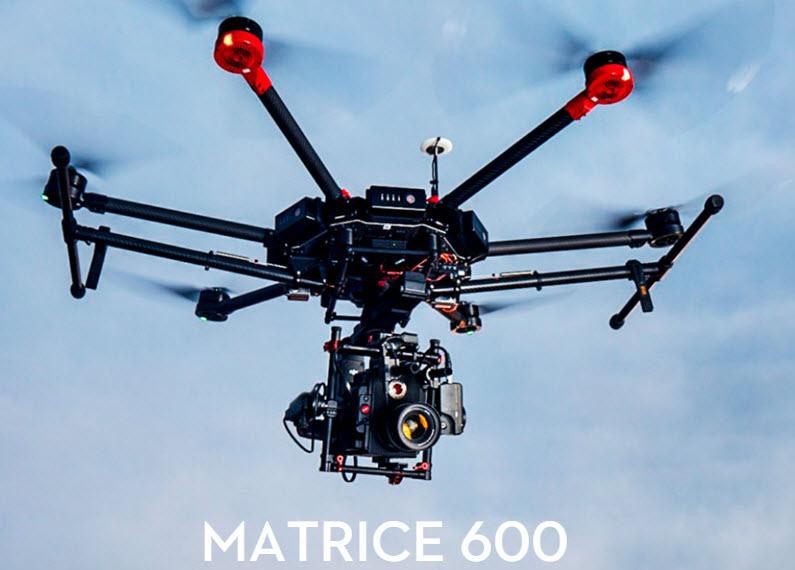 Дрон DJI Matrice 600, который позволяет транслировать видео в разрешении 1080р при 60 к с на расстоянии до 5 км, оценен в $4600 - 1