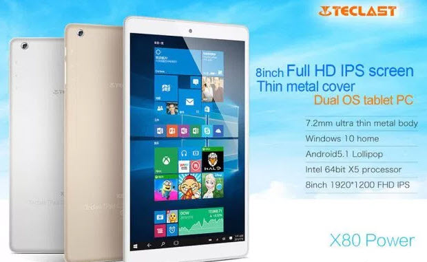 Teclast X80 Power — металлическая версия доступного планшета с Windows 10 и Android 5.1