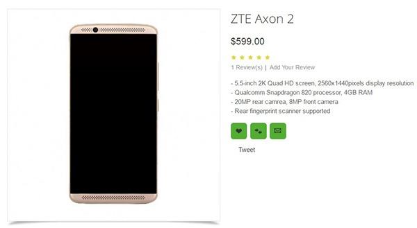 ZTE Axon 2 оценен в $600