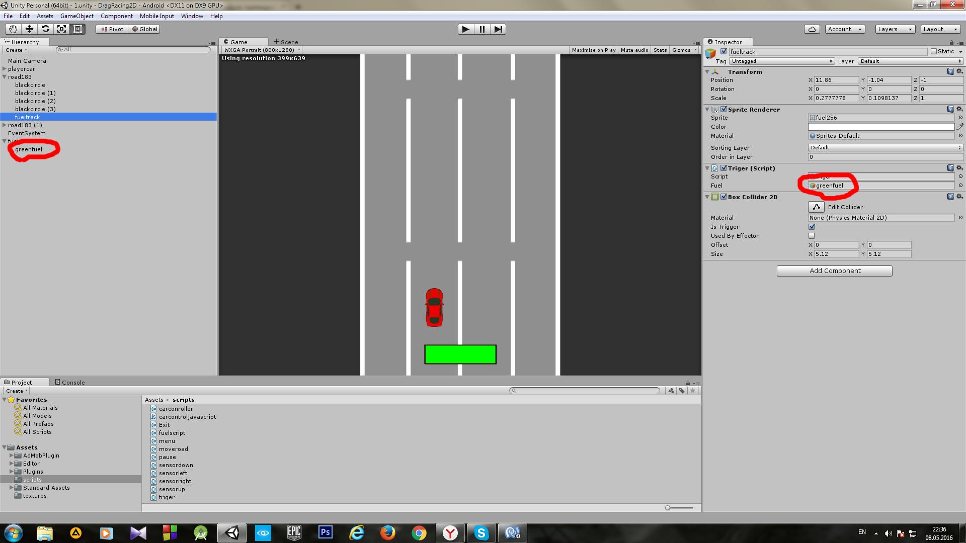 Пример создания простой 2D игры для Android с использованием игрового движка Unity - 16
