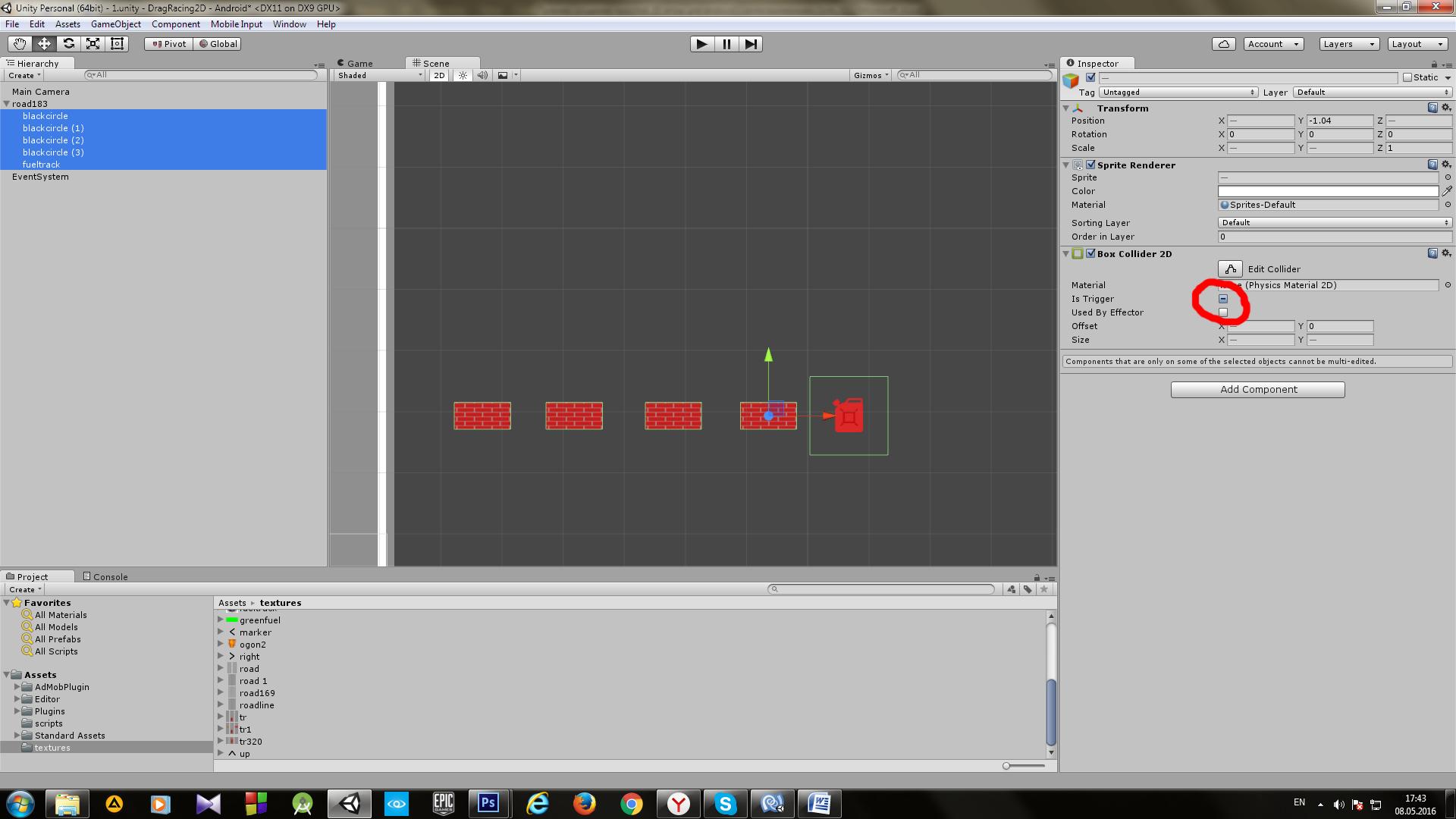 Пример создания простой 2D игры для Android с использованием игрового движка Unity - 9