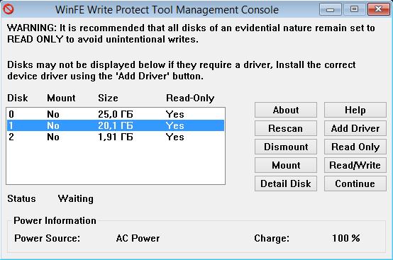Write Protect Tool Interface