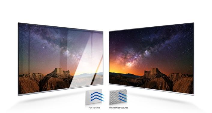 Технология Samsung Ultra Black заключается в покрытие панели телевизора крошечными бугорками