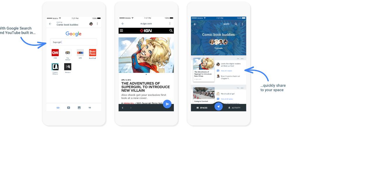 Google выпустил мессенджер Spaces, интегрированный с YouTube, Photos и Chrome - 1