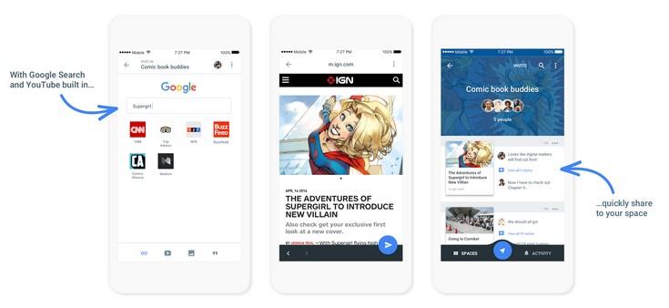 Google представила сервис Spaces