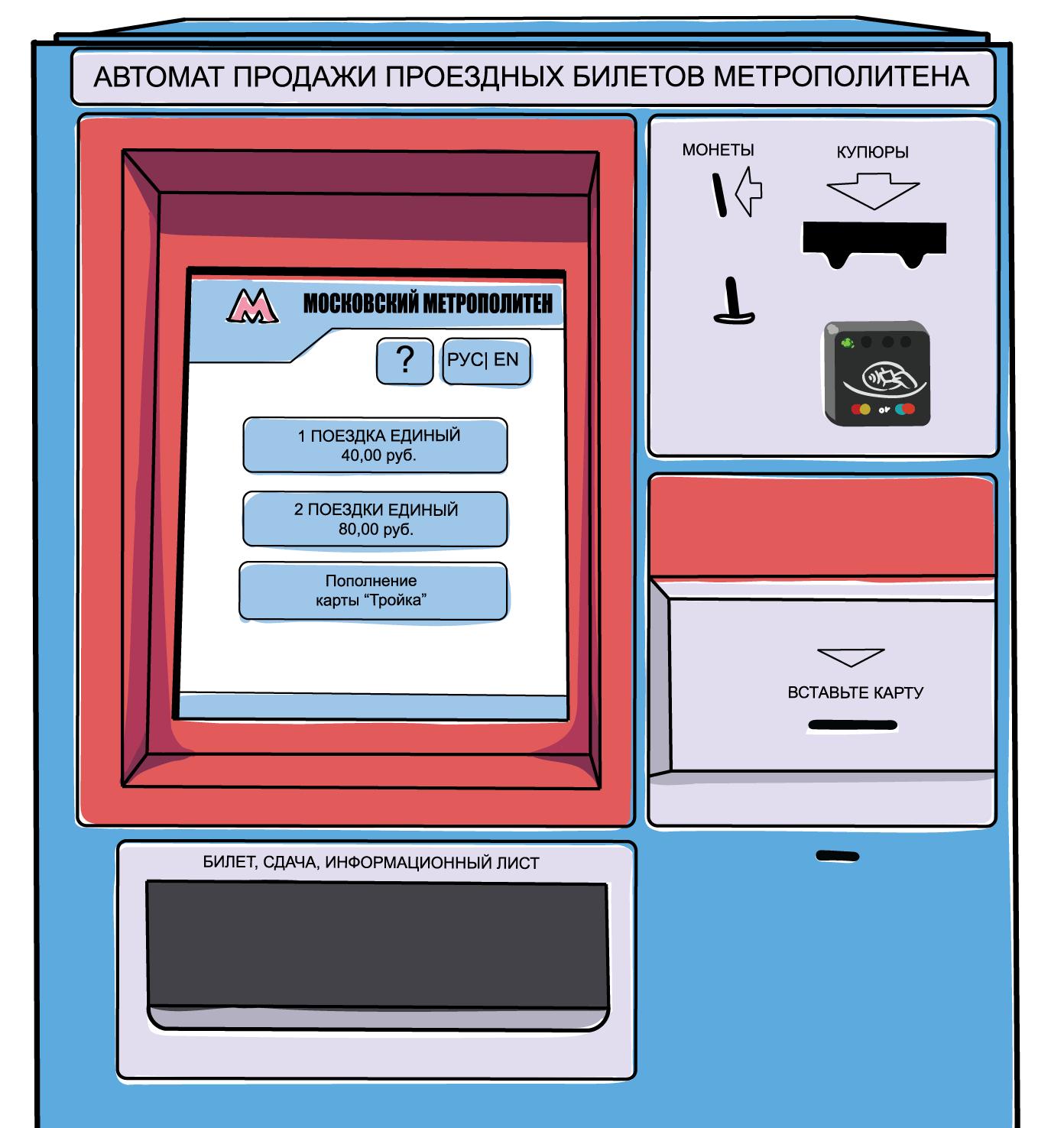 Автомат продажи билетов метро