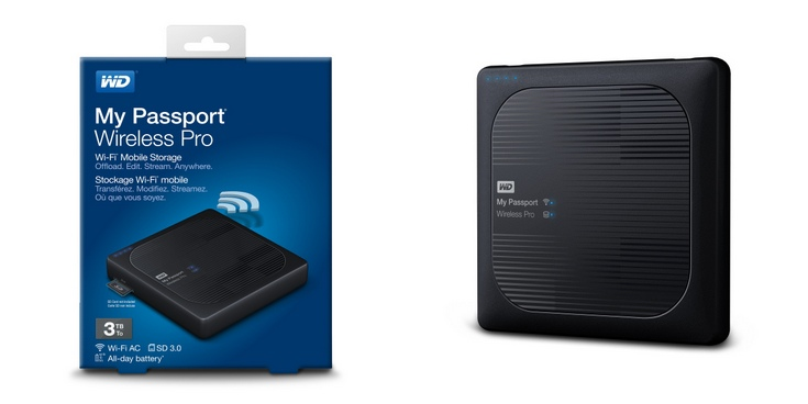 Внешний накопитель WD My Passport Wireless Pro располагает адаптером Wi-Fi