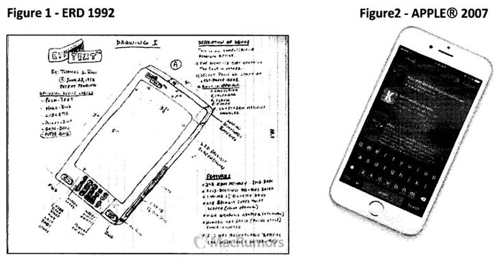 Житель Флориды утверждает, что устройства Apple iPhone, iPad и iPod были созданы по его эскизам