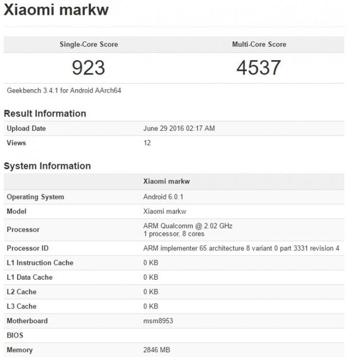 Основой Xiaomi markwслужит однокристальная система Qualcomm Snapdragon 625