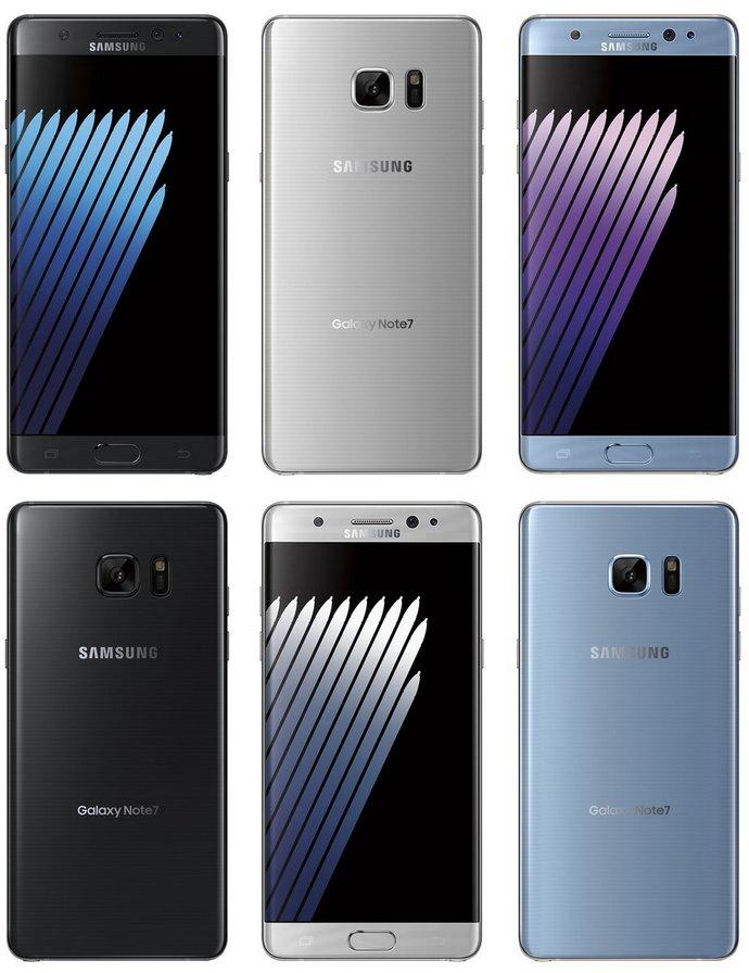 Samsung Galaxy Note7 будет доступен в цветах Black Onyx, Silver Titanium и Blue Coral