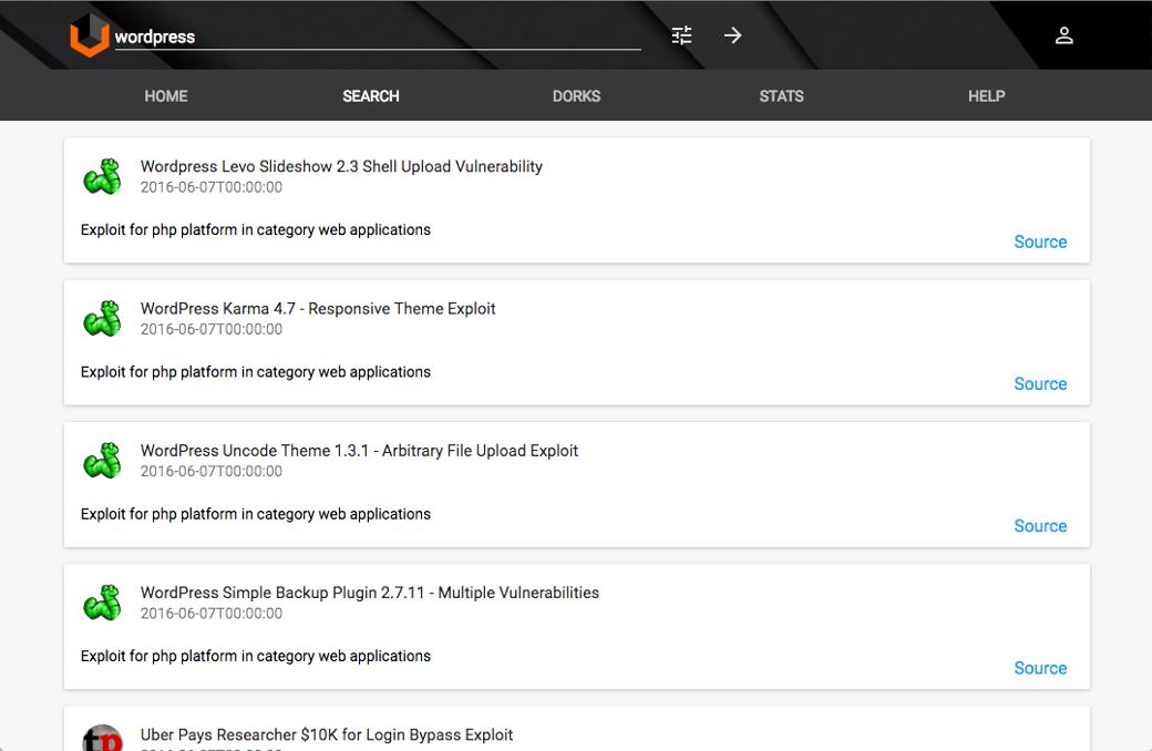 Типовая выдача Vulners по багам WordPress. Обрати внимание: данные обновляются постоянно и в автоматическом режиме