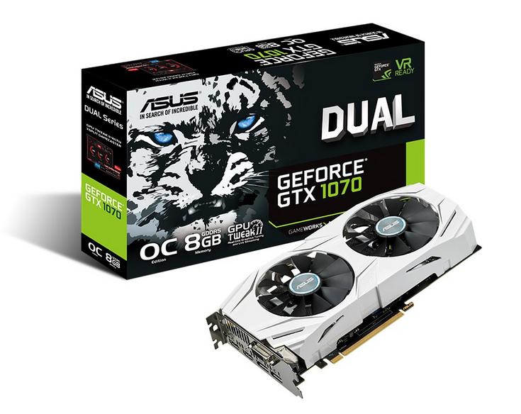 Видеокарта Asus Dual GeForce GTX 1070 работает на частоте до 1771 МГц