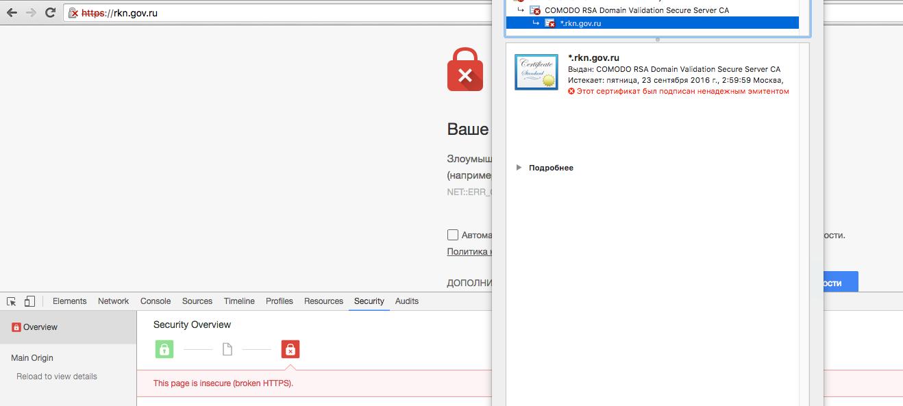 Роскомнадзор заблокировал самого себя и некоторые сайты правительства (Comodo) - 1