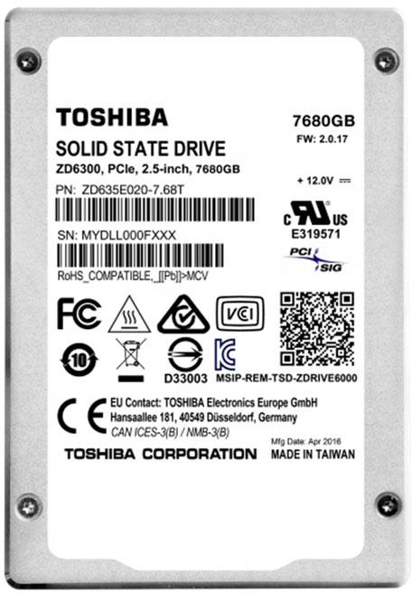 Твердотельные накопители Toshiba ZD6000 поддерживают NVMe