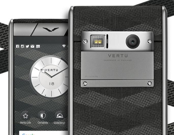 Корпус смартфона Vertu Aster Chevron выполнен с использованием титана и ткани