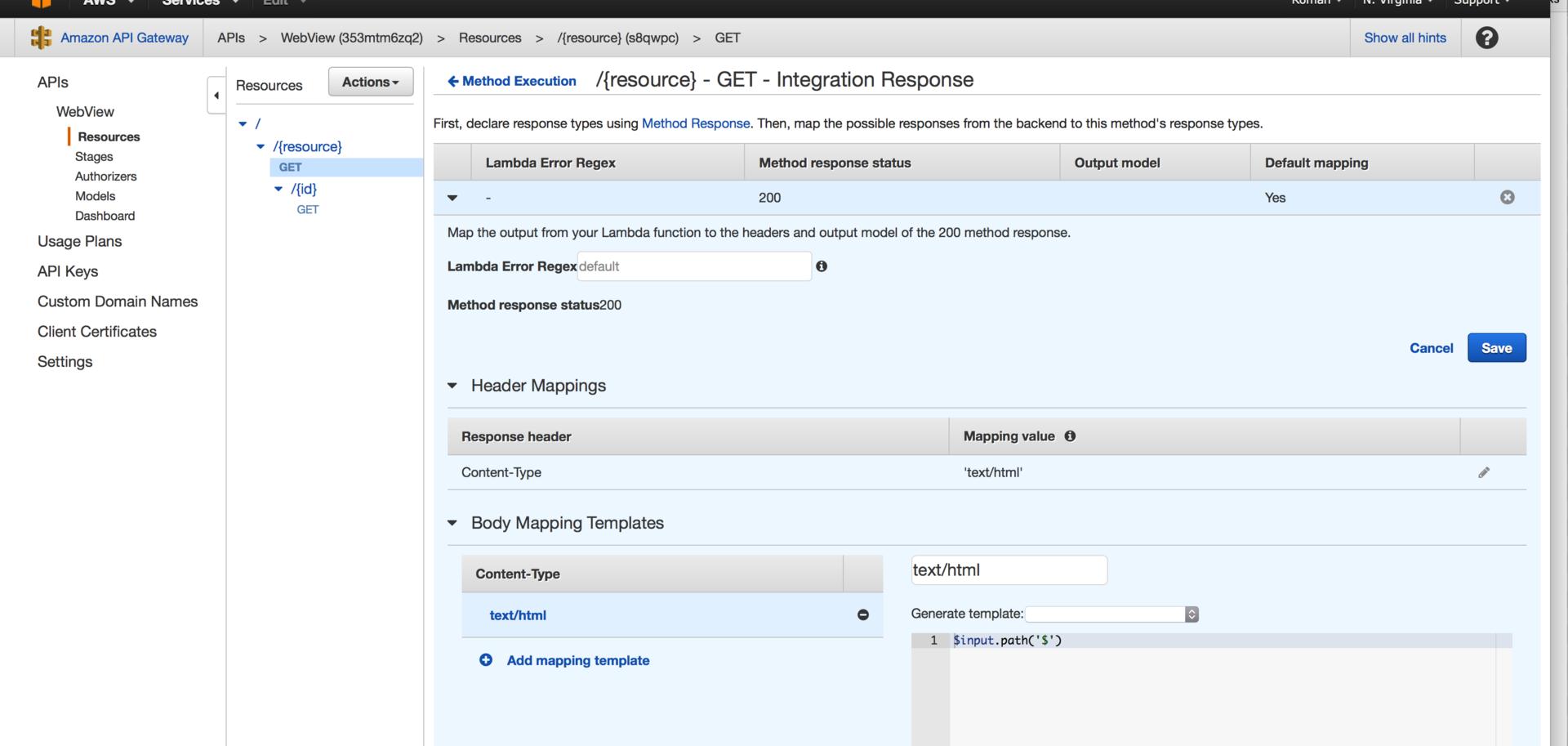 Создание WebView приложения на базе AWS ApiGateway и AWS Lambda - 6