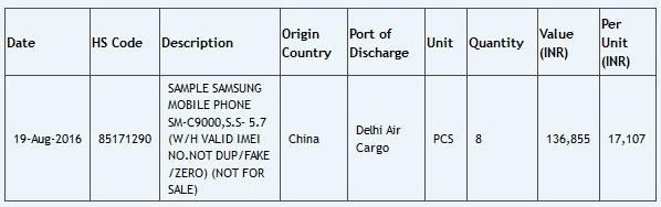Samsung Galaxy C9 оснащен экраном диагональю 5,7 дюйма