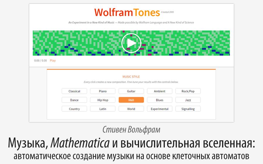 Музыка, Mathematica и вычислительная вселенная: автоматическое создание музыки на основе клеточных автоматов - 1
