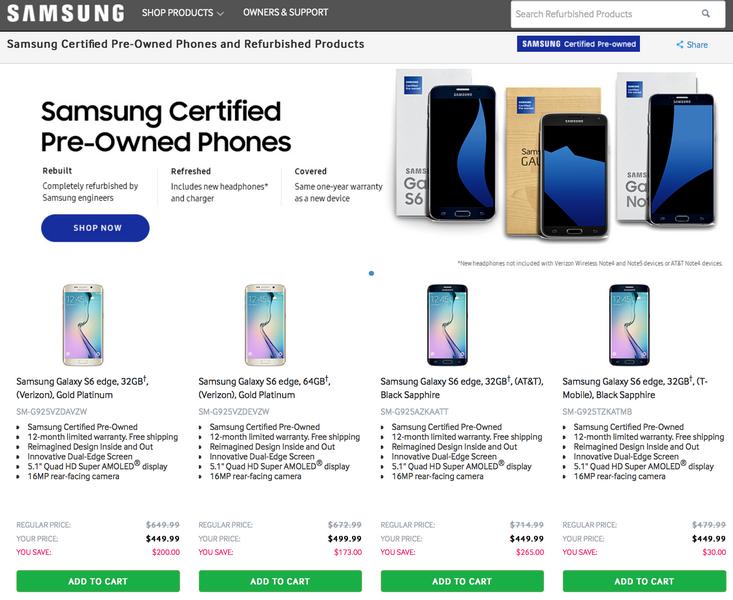 Samsung начала продажу восстановленных смартфонов прошлых поколений