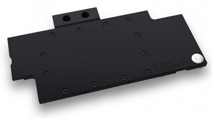 Модель EK-FC1080 GTX FTW построена по схеме с разделением потока охлаждающей жидкости