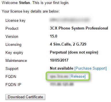 Создание и управление FQDN именем сервера 3CX - 1