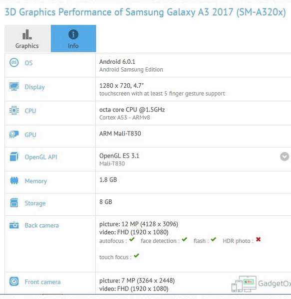 Смартфон Samsung Galaxy A3 2017 получит SoC Exynos 7870