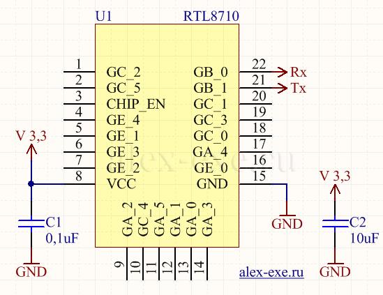 Схема подключения RTL8710