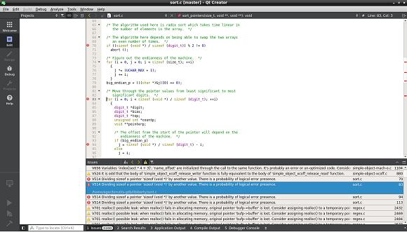 Qt Creator and PVS-Studio log