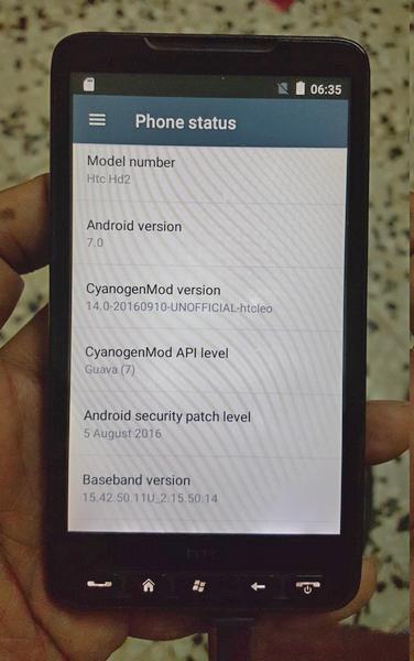 HTC HD2 сумел запустить ОС Android 7.0