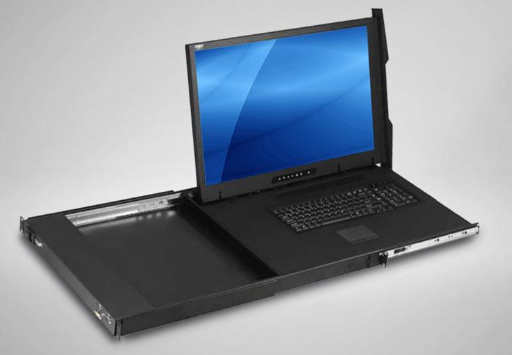 В выдвижную консоль Acnodes KD8124 типоразмера 1U встроен монитор размером 24,1 дюйма