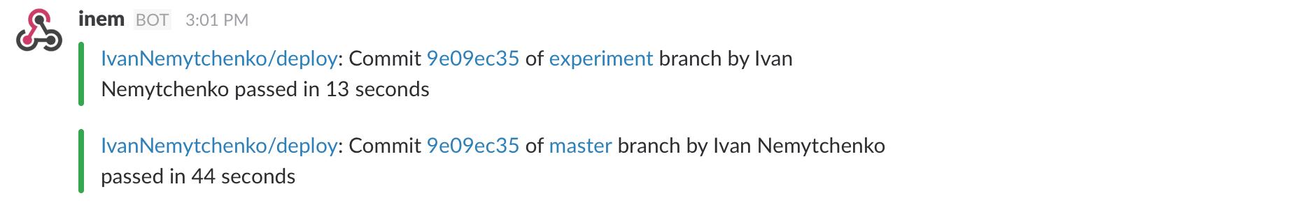 Deployment notifications in Slack