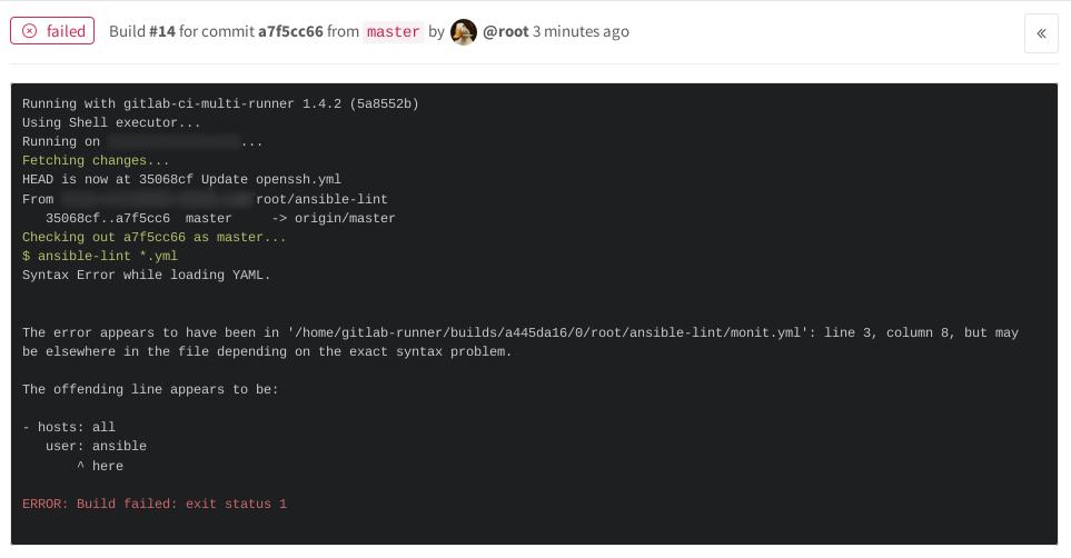 Gitlab-CI и проверка корректности синтаксиса Ansible-lint - 14