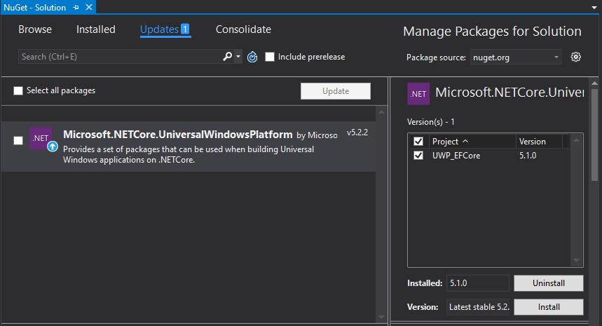Используем Entity Framework Core с приложением универсальной платформы Windows - 2