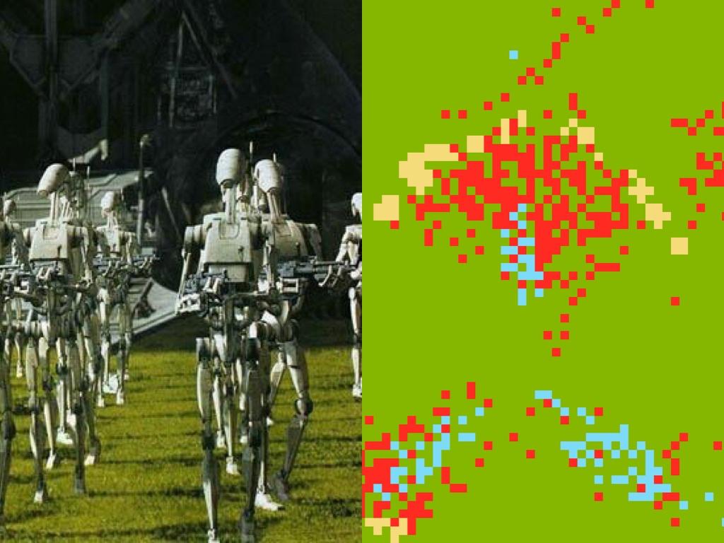 Битва дроидов и джедаев на клеточном автомате - 1