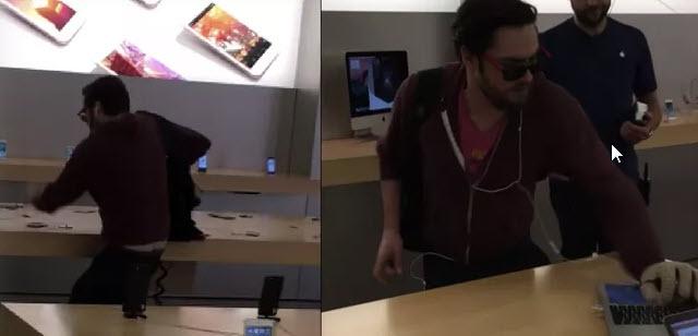 Посетитель магазина Apple, сославшись на нарушения прав потребителей, разбил 14 смартфонов iPhone и один MacBook