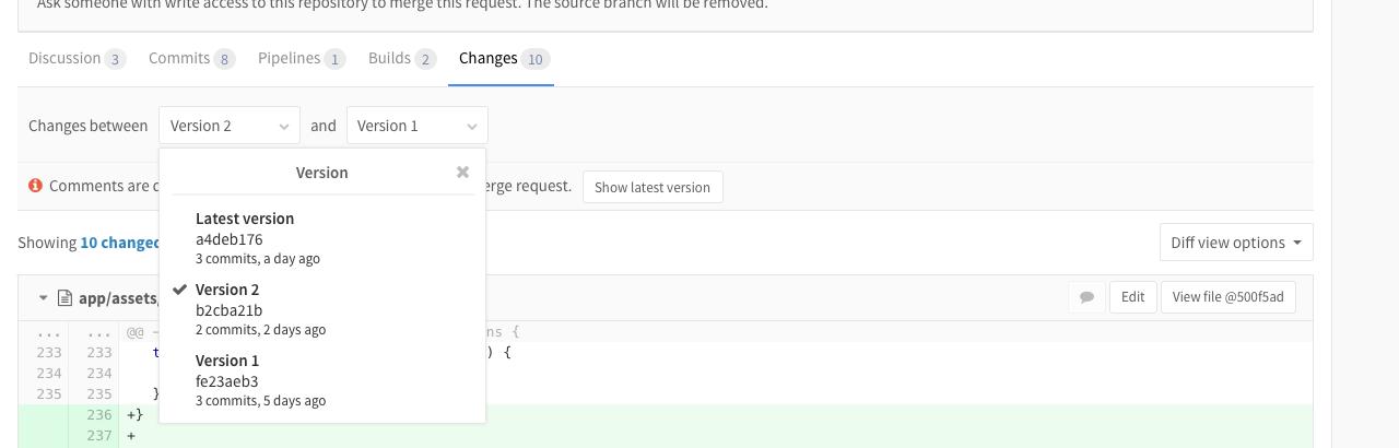 Merge Request Versions in GitLab 8.12