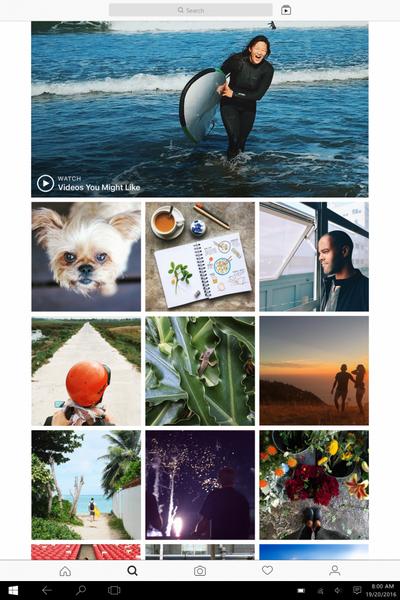 Instagram для Windows 10 имеет ограничения