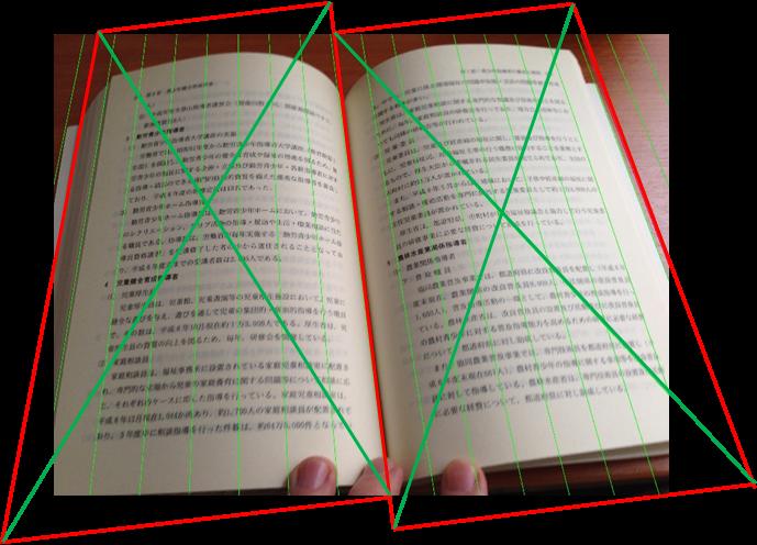 Устранение перспективных искажений и разгибание кривых строк на фотографиях книжных разворотов - 8
