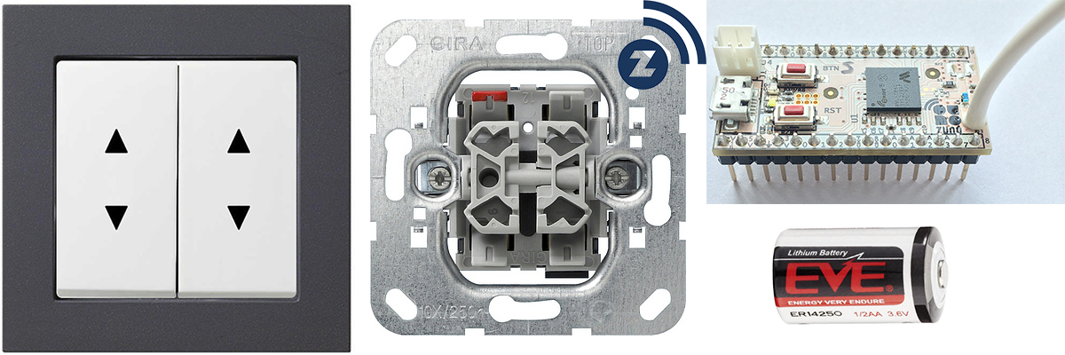 Выключатель Gira + Z-Wave. 4-кнопочный радио выключатель на базе Z-Uno - 1