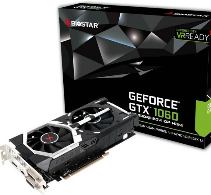 Карты Biostar GeForce GTX 1060 различаются объемом видеопамяти и количеством блоков CUDA