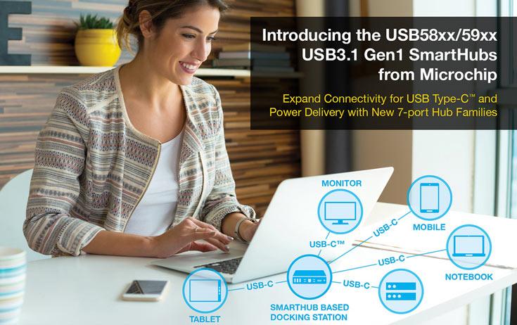 Microchip выпускает первые в отрасли семипортовые концентраторы USB 3.1 Gen1 с поддержкой USB-C