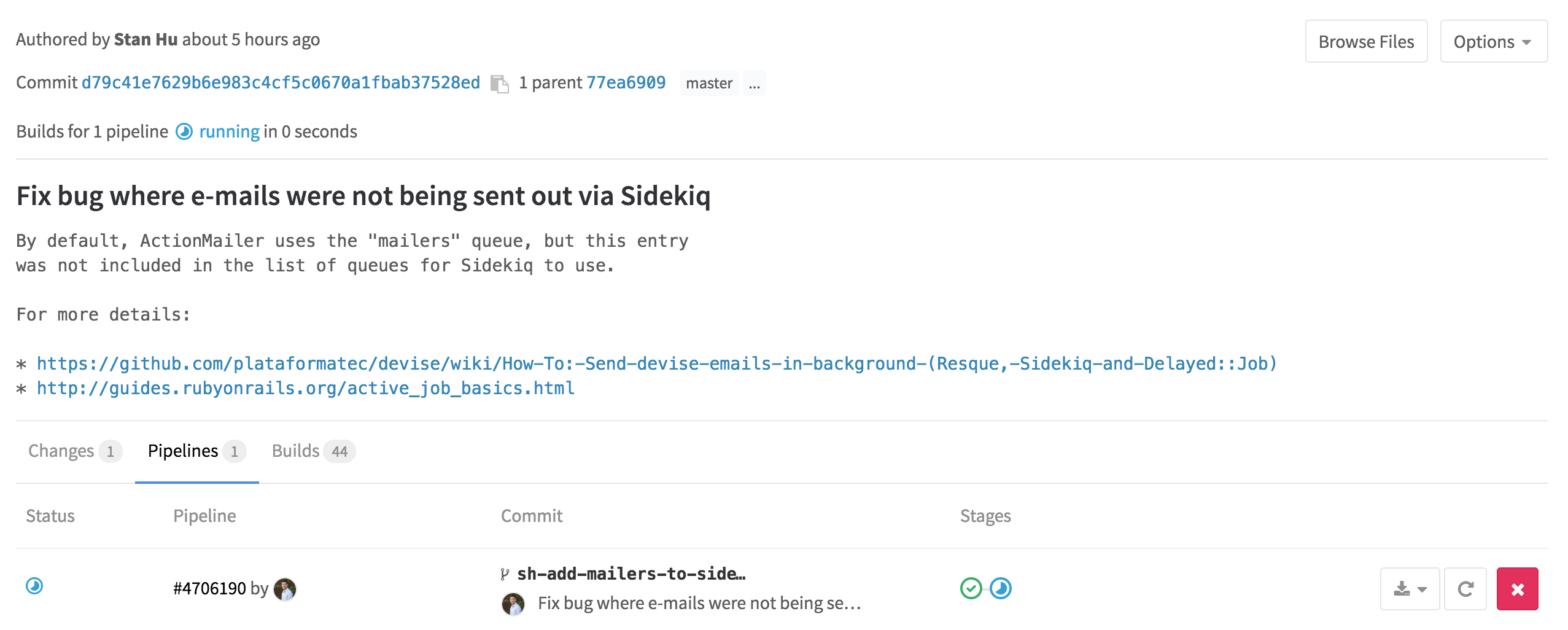 Pipelines for commits in GitLab 8.13