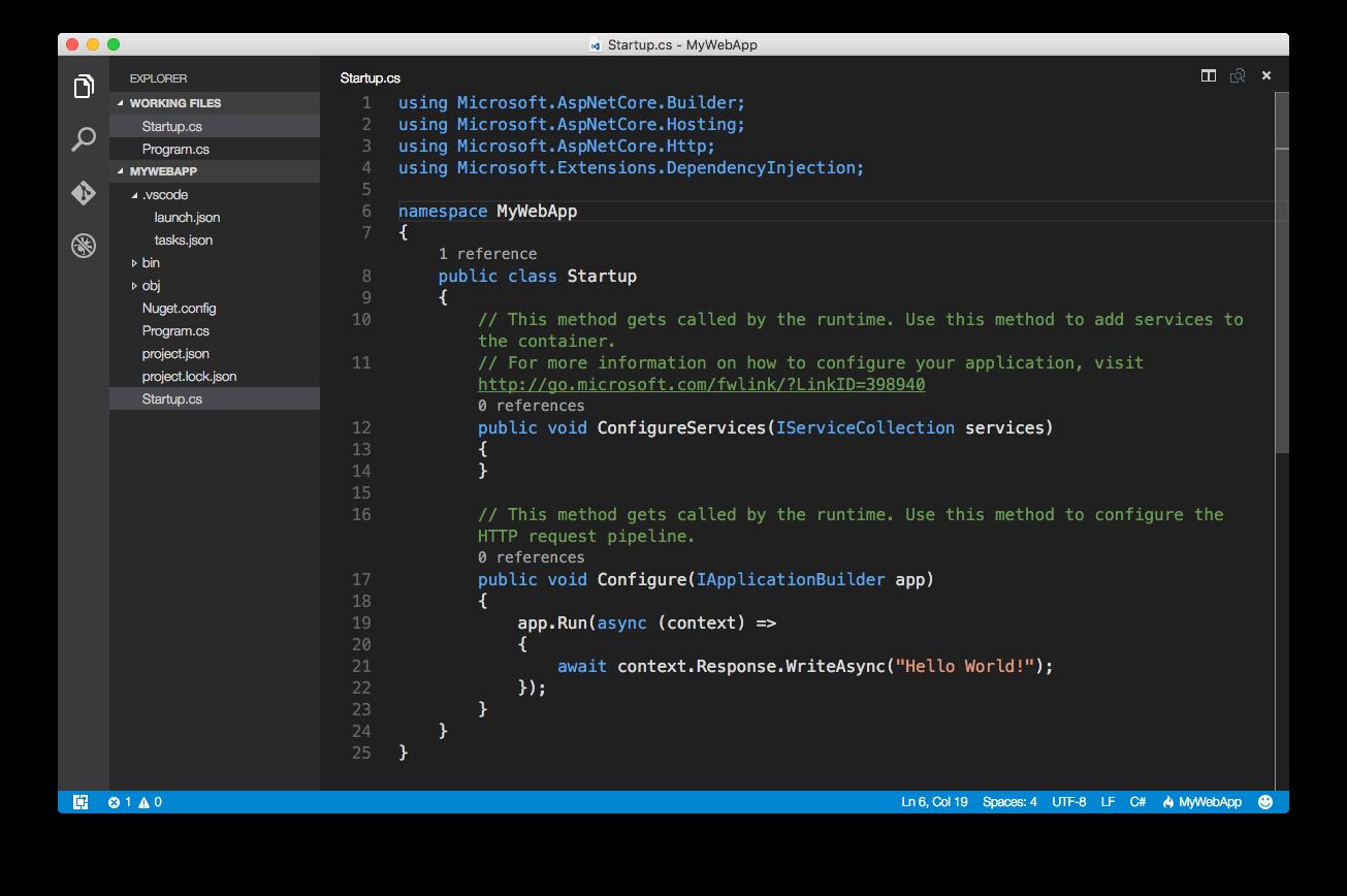 ASP.NET Core: Ваше первое приложение на Mac c использованием Visual Studio Code - 5