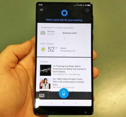 Смартфон Xiaomi Mi Mix поставляется с предустановленным персональным помощником Cortana