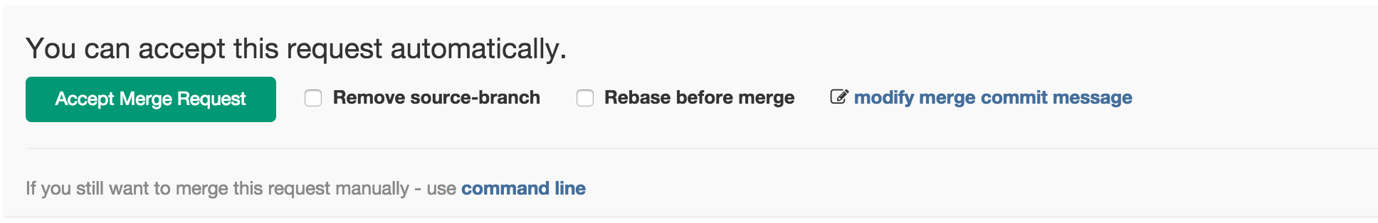 Merge request widget