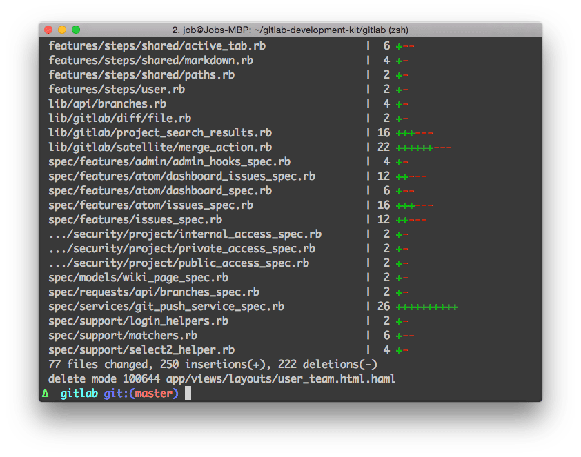 Shell output showing git pull output