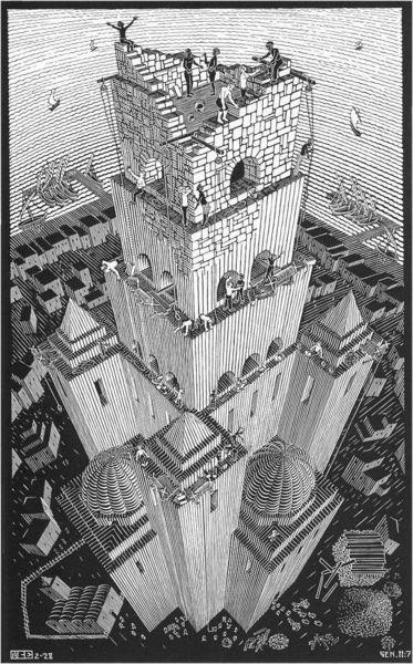 """Гравюра М. Эшера """"Вавилонская башня"""""""
