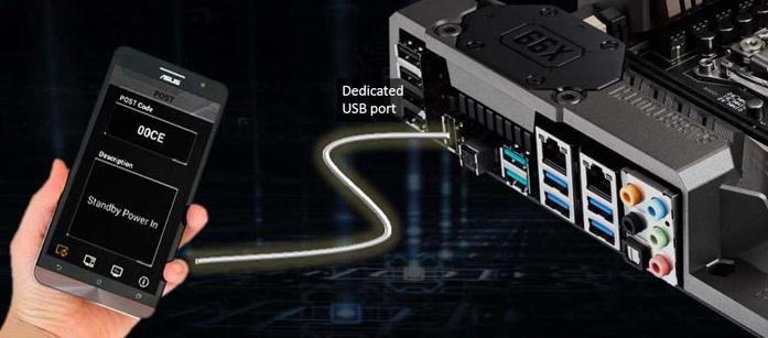 Мониторинг POST-кодов системной платы ASUS TUF Z270 MARK 1 при помощи смартфона через выделенный USB-порт